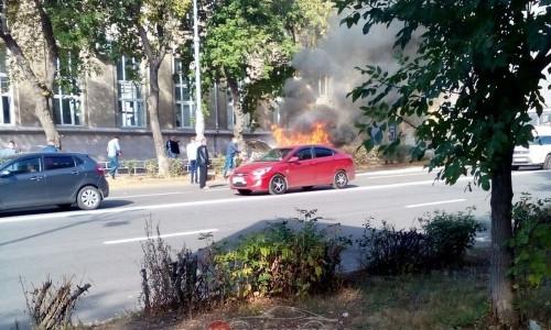 Техническая неисправность. В Магнитогорске утром горела «Дэу Нексия»