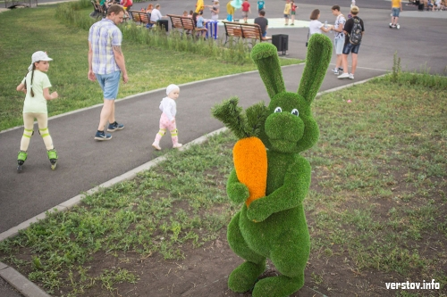 Вандализм на грани фола. У зайца, установленного в парке у Вечного огня, оторвали морковку
