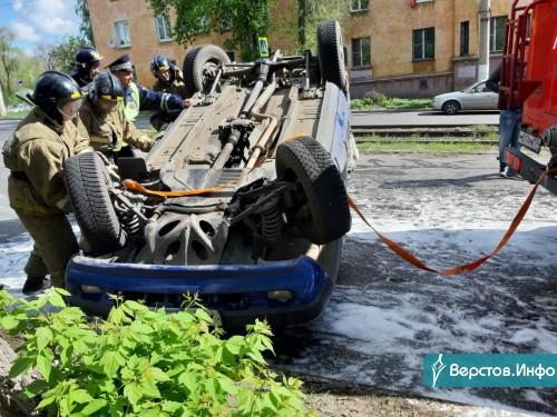 ДТП с переворотом. Утром на перекрестке в Ленинском районе столкнулись две иномарки