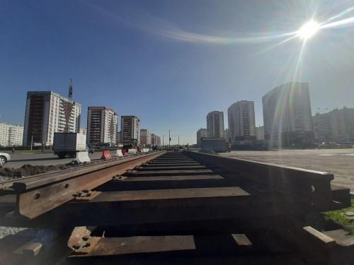 Строительство трамвайной ветки продолжается. Участок на проспекте К. Маркса перекроют на неделю